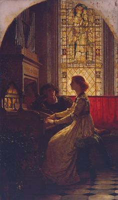 Harmony (1877). Sir Frank Dicksee (English, 1853‑1928). Oilon canvas.Tate. Shortly after Dicksee was approved to enter the Royal Academy Schools, he joined the Langham Sketching Club. One evening the set subject was Music. Encouraged with the sketch he had made Dicksee decided to make a repetition of it in oil. In 1877, when he was only 24 years old, the painting was exhibited at the RA with the new title Harmony.