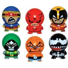 Complete Set of 6 Super Hero Buildables - Vending Machine Toys - Cake Toppers Party Favors