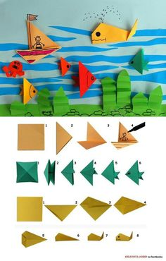 Craft Tips and Accessories Origami Paper Folding, Paper Crafts Origami, Origami Art, Diy Paper, Diy Arts And Crafts, Diy Crafts For Kids, Art For Kids, Creative Activities For Kids, Crafts For Seniors