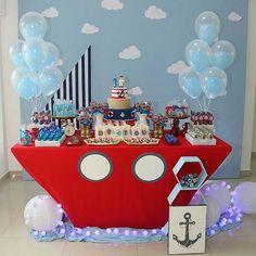 Ideas Baby Shower Themes For Boys Sailor Birthdays For 2019 Sailor Birthday, Sailor Party, Baby Birthday, Birthday Wishes For Kids, Boys 1st Birthday Party Ideas, Boy Baby Shower Themes, Baby Shower Decorations, Nautical Party, Nautical Mickey