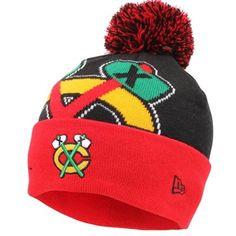 b843846ef01 Mens Chicago Blackhawks New Era Black Woven Biggie 2 Knit Hat