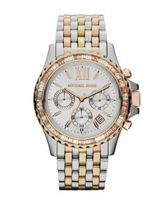 Another for my wish list :) LOVE IT!! Michael Kors Mid-Size Tri-Tone Stainless Steel Everest Chronograph Glitz Watch.