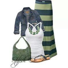 Maxi skirt + denim jacket
