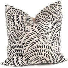 Schumacher Meander Black and Ivory Decorative Pillow Cover 18x18, 20x20, 22x22 or lumbar pillow - Throw Pillow - Accent Pillow