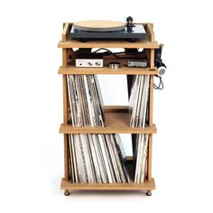 Line Phono Turntable Station Turntable Stand + Vinyl Record Storage, Made In The USA - Natural Colorway Turntable Setup, Record Player Stand, Home Music, Dj Music, Muebles Living, Bois Diy, Vinyl Record Storage, Built In Bookcase, Easy Woodworking Projects