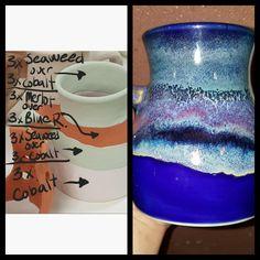 Hottest Snap Shots Ceramics glaze layering Style Pretty Mug – All AMACO glazes Glazes For Pottery, Pottery Mugs, Ceramic Pottery, Pottery Art, Pottery Wheel, Ceramic Techniques, Pottery Techniques, Glazing Techniques, Ceramic Glaze Recipes
