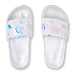 Check out The Children's Place for a great selection of Girls Flip Flops. Shop at the PLACE where big fashion meets little prices! Girls Dress Shoes, Kid Shoes, Cute Shoes, Cute Slippers, Slippers For Girls, Girls Fashion Clothes, Fashion Shoes, Mermaid Heels, Unicorn Fashion