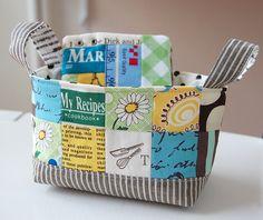 Fabric basket and scrappy organizer by ayumills, via Flickr