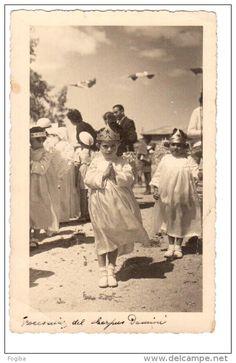 """#Dekemhare, #Eri- #Italy Industrial and factory town """"IO342   DECAMERE' - COLONIA ITALIANA - PROCESSIONE DEL CORPUS DOMINI - VIAGGIATA 1939"""""""