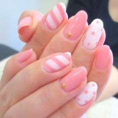 Nageldesign Trendy Sommer Pastell Nägel Kunst Ideen Hair Loss in Men – Provillus to the Rescu Pretty Nail Art, Cute Nail Art, Pretty Pastel, Pink Gel, Pink Nail Art, Polka Dot Nails, Polka Dots, Pink Stripes, Kawaii Nails