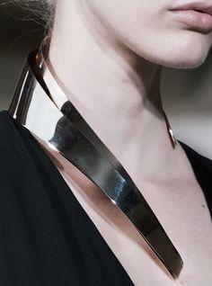 Sculptural Collar Necklace - futuristic fashion; bold chrome statement jewellery // Bouchra Jarrar