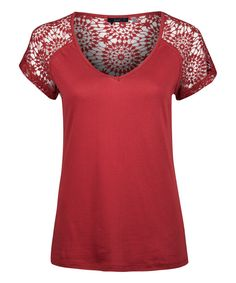 Look at this Garnet Crochet V-Neck Top on #zulily today!