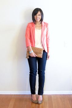 "Comfort Food   Shop for the Look: Tee: Shade Clothing (similar -- pink) Blazer: She Inside (similar--not shown above, similar) Jeans: Forever 21 (similar - in ""deep night"") Shoes: Target (exact, similar, more options) Clutch: DSW (exact) Bracelet: c/o InPink (exact)"