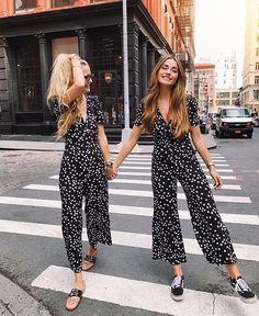 Cute black and white polka dot jumpsuits.