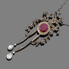 A belle époque ruby and diamond pendant, circa 1910.