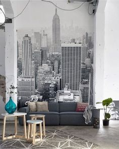 Fall in love with this New York City wallpaper mural. Its monochrome colours make for a stunning grey wallpaper idea. Perfect for creating a show-stopping feature wall in your living room. New York Wallpaper, City Wallpaper, Bedroom Wallpaper, Wallpaper Murals, Feature Wall Bedroom, Wall Decor, Room Decor, Inspirational Wallpapers, Cool Walls