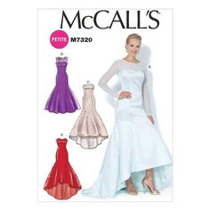 McCall's Patterns Misses'/Miss Petite Mermaid-Hem and High-Low Dresses, Size - meme coupon High Low Evening Dresses, Evening Dresses For Weddings, Evening Gowns, Prom Dresses, Bride Dresses, Wedding Gowns, Formal Dress Patterns, Evening Dress Patterns, Wedding Dress Patterns