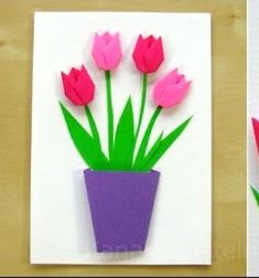 DIY Origami spring flower (tulip) greeting card - paper folding Are you looking for a f rugal but still beautiful and ea Diy Origami, Tulip Origami, Origami Cards, Origami Paper Folding, Origami Star Box, Origami Fish, Origami Design, Origami Flowers, Paper Flowers