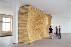 """Holzschlichten""; 2000; 7200 wood sticks, by Gerhard Mayer"