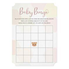 Pastel Pink Hexagon and Teddy Bear Baby Bingo Invitation Fun Baby Shower Games, Baby Shower Bingo, Baby Shower Invitations, Baby Bingo, Gender Neutral Baby Shower, Newborn Baby Gifts, Cute Pink, Pastel Pink, Baby Shower Decorations
