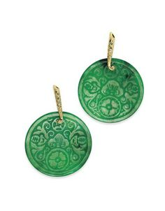 Carved jade necklace circle of life ooak translucent nephrite a pair of jade and diamond ear pendants each single cut diamond set line surmount suspending a circular jade disc with carved oriental decoration and aloadofball Images