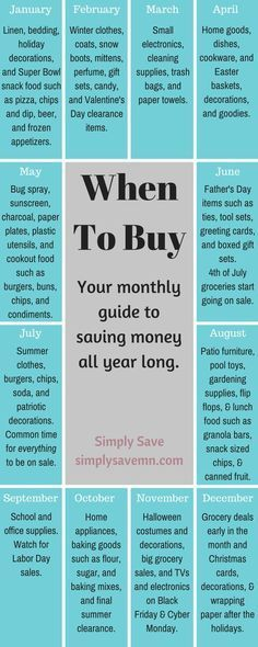 When To Buy: A Monthly Guide - Finance tips, saving money, budgeting planner Ways To Save Money, Money Tips, Money Saving Tips, How To Make Money, Quick Money, Money Fast, Hide Money, Info Board, 1000 Lifehacks