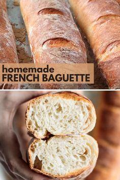 Italian Bread Recipes, Baguette Bread, Sourdough Recipes, Rustic Italian Bread, Peasant Bread, Homemade French Bread, Recipes, Cooking