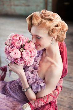 www.weddbook.com everything about wedding ♥ Fairy Wedding Dress and Hairstyle  #wedding #pink #purple #bouquet #flower #bride #hairstyle