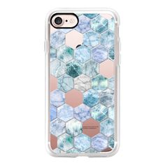 Ice Blue and Jade Stone and Marble Hexagon Tiles transparent - iPhone... ($40) ❤ liked on Polyvore featuring accessories, tech accessories, iphone case, iphone cases, iphone cover case, apple iphone case, slim iphone case and blue iphone case