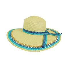 Boardwalk Style Blue Lacy Straw Sunhat (£7.89) ❤ liked on Polyvore featuring accessories, hats, brimmed hat, straw beach hat, sun hat, blue straw hat and straw sunhat