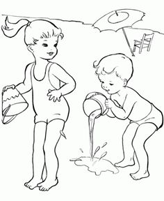 the kids happy playing at beach summer coloring pages