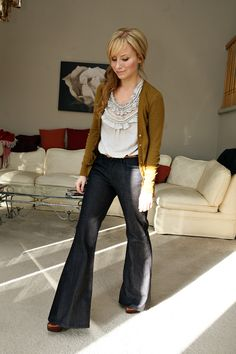 ruffles, cardigan, wide-leg jeans.