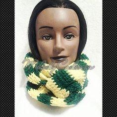 Women's Yellow/Green Large Striped Infinity Scarf www.melodycadenzaclothing.com #Crochet #Handmade #Beanie