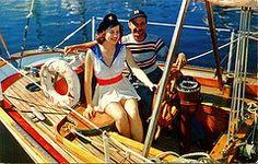 50s sailing postcard