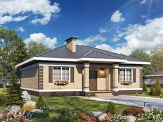 Style At Home, Bungalow Floor Plans, Compact House, Bungalow Exterior, Small House Design, Home Art, My House, Gazebo, Architecture Design