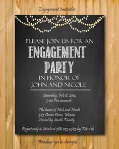 Engagement Party Printable Invitations Sparkle Lights Chalkboard
