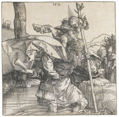 Albrecht Dürer 1471 - 1528 SAINT CHRISTOPHER (B. 103; M., HOLL. 223) Woodcut, 1511, a good Meder a-b impression, before the gaps in the borderline, printing a little dryly in the lower part of the subject, framed  plate: 210 by 210mm 8 1/4 by 8 1/4 in sheet: 212 by 211mm 8 3/8 by 8 3/8 in