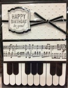 Black & white handmade card featuring the Label Love stamp set and Music Notes wheel from Stampin' Up!