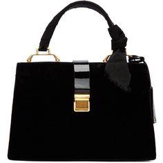 Miu Miu Black Velvet Duffle Bag (3 430 BGN) ❤ liked on Polyvore featuring bags, handbags, zip purse, miu miu, velvet purse, zipper purse and clasp purse