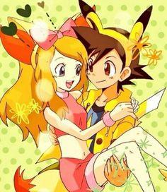 Serena fennekin clothes and ash pikachu clothes Lusamine Pokemon, Kalos Pokemon, Pokemon Waifu, Pokemon Ships, Pokemon Comics, Pokemon Funny, Pokemon Fan Art, Pikachu Pikachu, Anime Couples