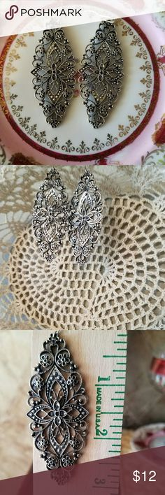 """Gorgeous Ornate Earrings 3"""" Earrings in pewter tone. Have some weight but not heavy weighted. So beautiful! Jewelry Earrings"""