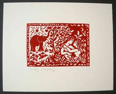 Linocut, Adam and Eve