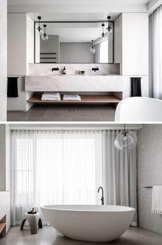Modern Master Bathroom, Modern Bathroom Design, Bathroom Interior Design, Bath Design, Master Bathrooms, White Bathroom, Luxury Bathrooms, Master Baths, Small Bathrooms