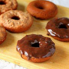 Vegan Richa: Strawberry Doughnuts with Chocolate Rum ganache glaze. Vegan recipe