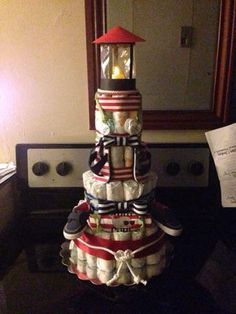 Nautical Light house diaper cake baby shower