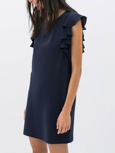 Navy Dress with Ruffles