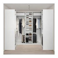 PAX wardrobe – white Hokksund, high gloss black-blue dark blue – IKEA by HadleyLord Front Closet, Walk In Closet, Closet Doors, Master Closet, Closet Bedroom, Bedroom Storage, Bathroom Closet, Ikea Pax Corner Wardrobe, Pax Wardrobe