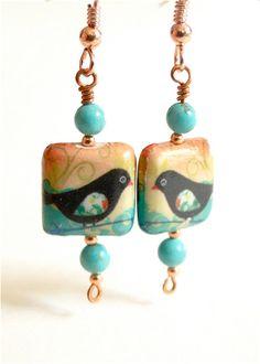 Blackbird  earrings  Paper mache with by VintageJewelryonEtsy, $18.00
