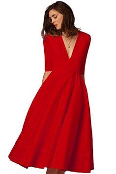 YiJee Donna Elegante Donna Vestito Lunghi V-Collo Midi Lungo Abito da Sera  Rosso L bf34a39c05f