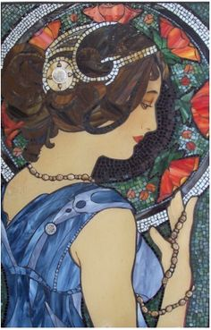 Muchas Flowers, Inspirded by Mucha's Girl Glass on wood    Kathleen Coyle Keswick Ont.